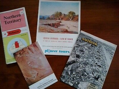 Vintage NT Northern Territory map Ansett Pioneer Tours Central Australia Railway
