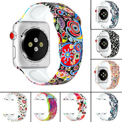 Silicone Prints Replacement Strap Band For Apple Watch Series 4 3 2 1 40mm 44mm