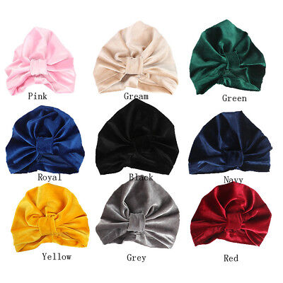 Toddler Newborn Kids Baby Boy Girl Indian Turban Velvet Bow Knot Beanie Hat Cap
