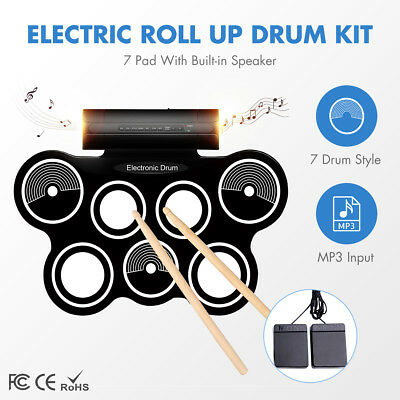 Portable Electronic Roll Up Drum Kit 7 Silicone Pad Electric Hand Roll Drum Set