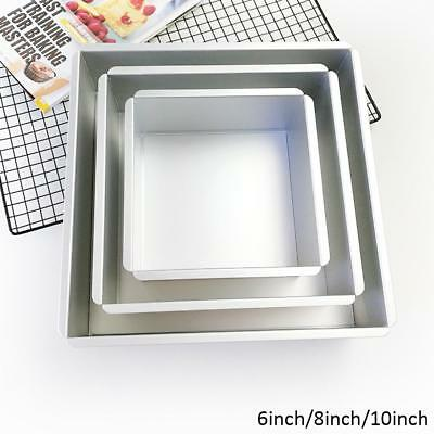 6/8/10'' Square Cake Pan Tins Aluminum Alloy DIY Baking Mold Mould Bakeware Tray
