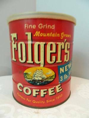 RARE Vintage Folgers Coffee tin ship with lid NEW 3 POUND SIZE ON CAN