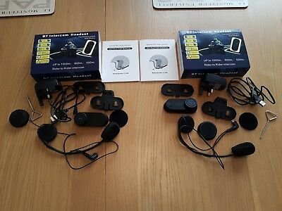 2 BT Intercom Motorcycle Headsets