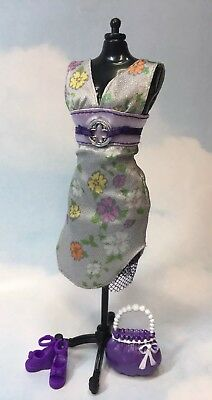 Barbie Doll Clothing: Modern purple floral Party Dress shoes purse complete look