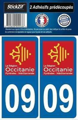 2 Stickers Departement 09 Plaque Immatriculation Auto Blason Region Occitanie