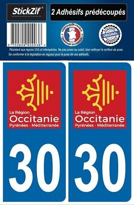 2 Stickers Departement 30 Plaque Immatriculation Auto Blason Region Occitanie