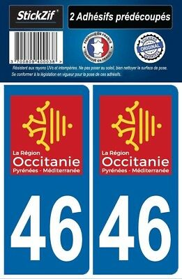 2 Stickers Departement 46 Plaque Immatriculation Auto Blason Region Occitanie