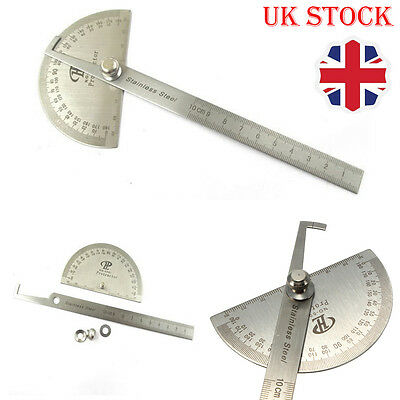 Stainless Steel 180° Protractor Round Head Rotary Angle Rule Finder Arm Ruler UK