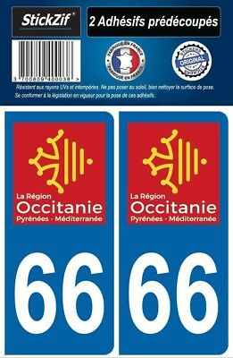 2 Stickers Departement 66 Plaque Immatriculation Auto Blason Region Occitanie