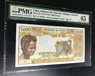 Chad Tchad 5000 Francs P5b 1978 PMG45 Extremely Fine / Rare