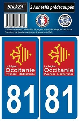 2 Stickers Departement 81 Plaque Immatriculation Auto Blason Region Occitanie