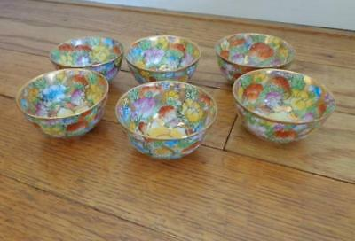 6 Vintage Small Chinese Porcelain Mille Fleur Cups