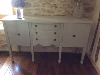 Vintage Reproduction Regency Style Serpentine Sideboard Painted Shabby Chic