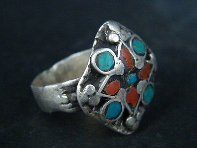 Antique Post Medieval Silver Ring With Nice Stones 1800 Ad Tc434