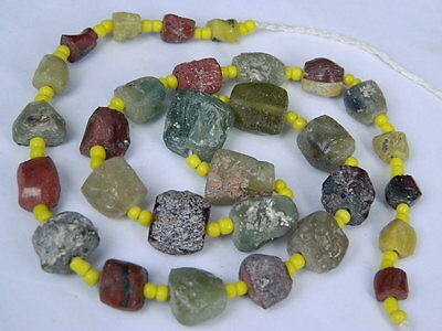"Ancient Roman Glass Fragments Beads Strand C.200 Bc  """"k739"""""