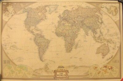 """National Geographic """"The World"""" Antique Rustic Paper Map"""