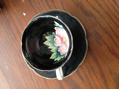 Vintage Shafford Hand Painted in Japan Tea Cup & Saucer  Black w/ Flowers