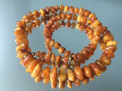 Collier Ancien Ambre Perle  amber antique butterscotch baltique