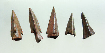 Lot of 5x Ancient Roman Bronze Arrowhead L=16-25mm Quality