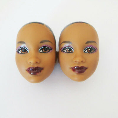 Head for Barbie Doll Dark Skin without Hair DIY Practising Soft Head 2pcs Part