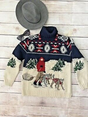 VTG Ralph Lauren Womens Medium Cowichan Sweater Sled Dog Huskies Hand Knit P1616