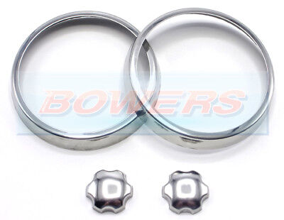 Classic Rover Austin Mini Polished Stainless Steel Chrome Air Vent Rings Knobs