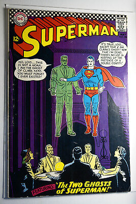 Superman #186 May 1966 Silver Age Fn The Two Ghosts Of Super Man Dc Comic Book