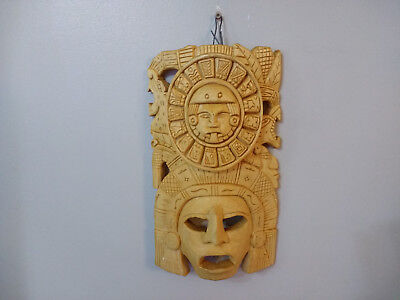 Mayan Aztec Hand Carved Wood Wall Mask Mexican Folk Art Wall Hanging Mask