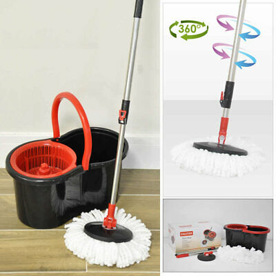 360° Spin Mop & Bucket Floor Cleaner, Adjustable Handle & 2 Mop Heads