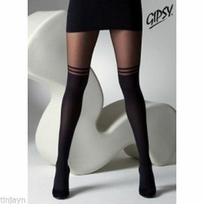 Black Mock Over Knee Double Stripe Suspender Tights (GYPSY) One Size
