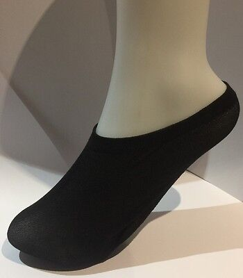 Ladies 50%Cotton-50%Nylon Footsies (Shoe Liners) Size 4-7 In Black, 2 Pair Pack