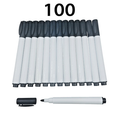 100 small Black Magnet White board whiteboard marker pens with clips easy wipe