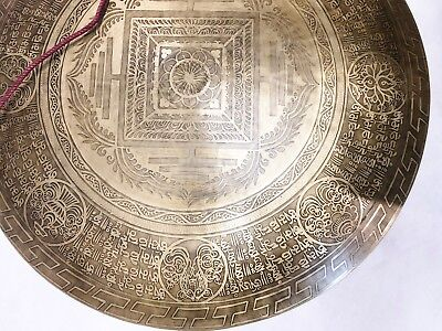 """F1060 Huge Artistic Hand Crafted Himalayan Tibetan Temple Gong 22.25"""" M.I. Nepal"""