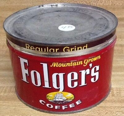 """Vintage """"folger's"""" Coffee Tin! Bright Red! Dhip Label"""