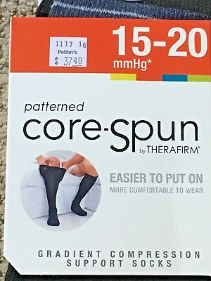 Thera-Firm Patterned Core Spun Gradient Compression Support Socks 15-20 Mmhg L