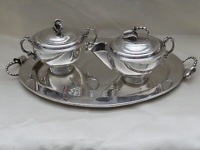 Vintage AVA  Sterling Silver Creamer & Sugar & Tray Mexico Jensen Style Blossom
