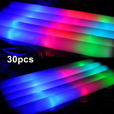 30Pcs LED Palillo Espuma Palo Fluorescente Para Fiestas Conciertos Ceremoniales