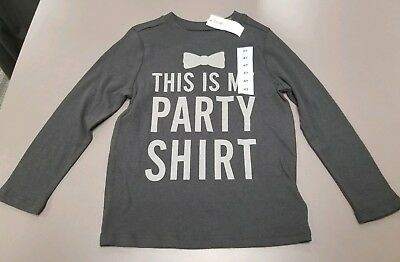 "NWT Boys Old Navy ""This is my Party Shirt"" Black Long Sleeve - Size 4T"