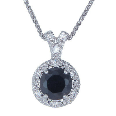 Sterling Silver Black Diamond Pendant (2 CT) With 18 Inch Chain
