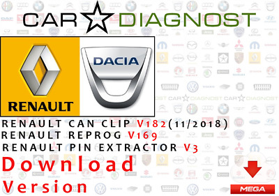 Renault Can Clip V182 & Reprog V169 & Renault Pin Extractor  +FREE updates