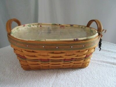 Longaberger 2001 Basket with  Divided Protector Liner and  Handles
