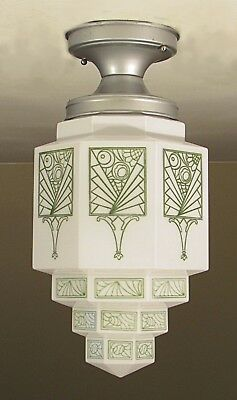 HUGE! Antique Skyscraper Wedding Cake Light Fixture with Green Art Deco Stencil