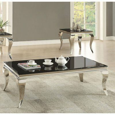 Wondrous Coaster Furniture Black Glass Top Coffee Table With Chrome Camellatalisay Diy Chair Ideas Camellatalisaycom