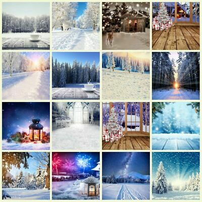 3*5/5*7ft Winter Snow Forest Scene Photography Studio Props Backdrop Background