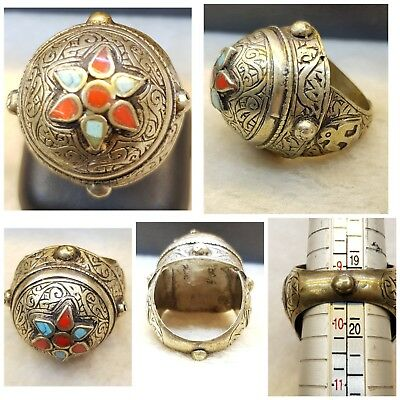 Very Old Silver Antique Soild Silver Lovely Ring With Turquoise & Coral # E7i