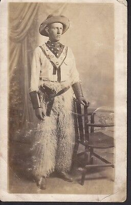 Cowboy Chaps Pistol Bandanna hat Early Photo picture Postcard Western Vintage