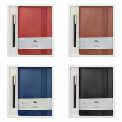 A5 New Leather Hardback Notepad Notebook Notes Journal Diary Gift Pack With Pen
