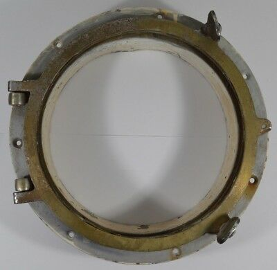 "Vtg 9"" Brass Nautical Real Boat Ship Porthole Round AS IS"