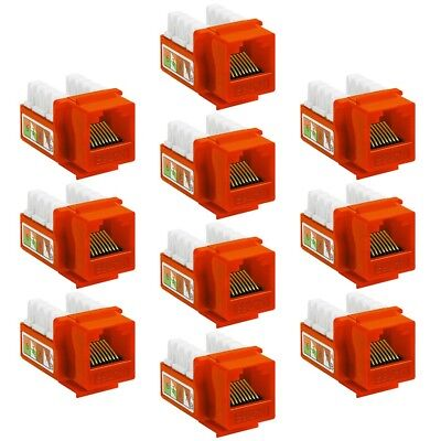 10x Cat5e RJ45 110 Punch Down Keystone Jack Network Ethernet LAN Wall Plate Red
