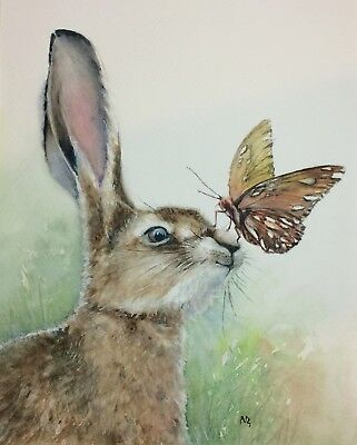 Wildlife art original hare watercolour painting 'Butterfly' by Vivian Sophie